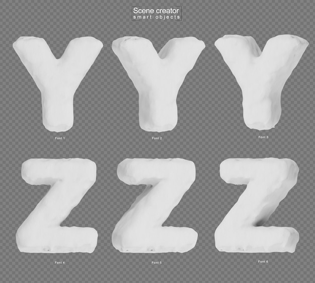 雪のアルファベットyとアルファベットzの3dレンダリング