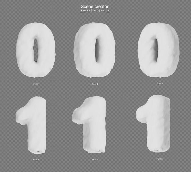 雪の番号0と番号1の3dレンダリング