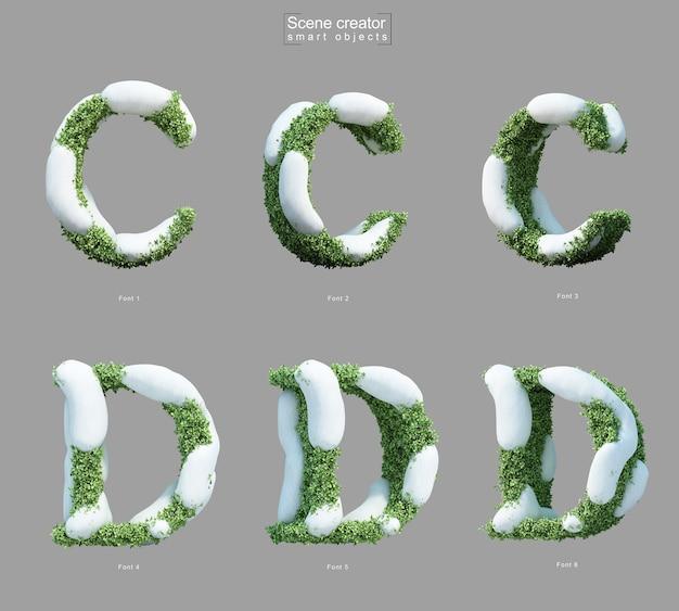 文字cと文字dのシーンクリエーターの形で茂みに雪の3 dレンダリング