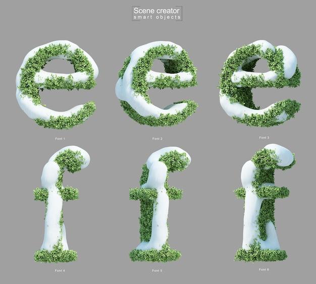 文字eと文字fの形をした茂みの雪の3dレンダリング