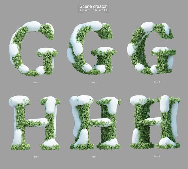 文字gと文字hのシーンクリエーターの形をした茂みの雪の3dレンダリング