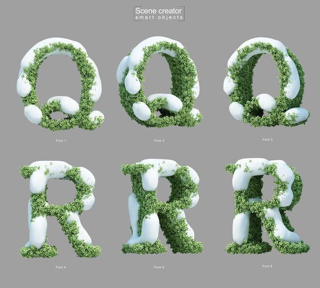 文字qと文字rシーンクリエーターの形で茂みに雪の3 dレンダリング