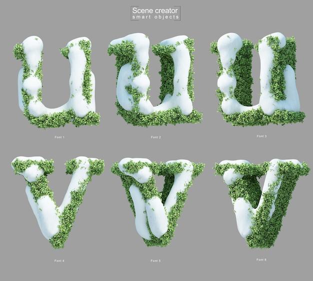 文字uと文字vの形をした茂みの雪の3dレンダリング