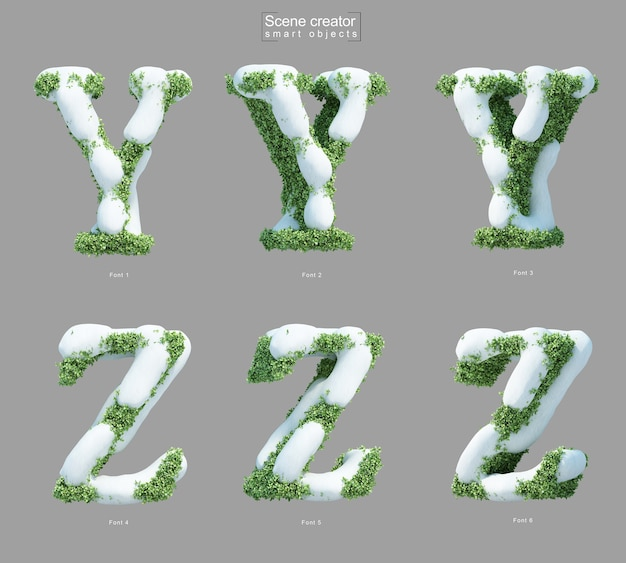 Yとzの文字のシーンクリエーターの形で茂みに雪の3 dレンダリング