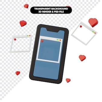 携帯電話と愛のアイコンを使用したソーシャルメディアの3dレンダリング