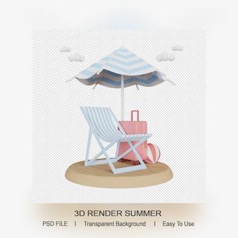 여름 액세서리의 3d 렌더링