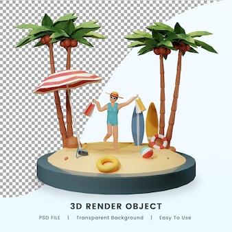 여름 해변 개념의 3d 렌더링 premium psd