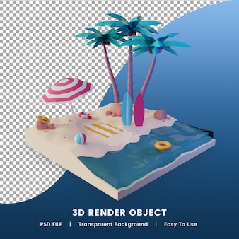 여름 날 개념의 3d 렌더링