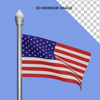 미국 국기 독립 기념일 개념의 3d 렌더링