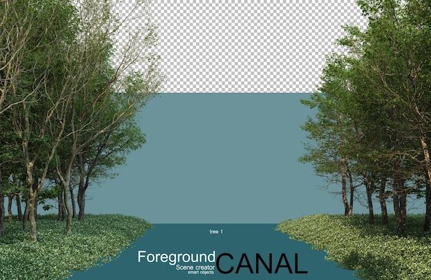 운하를 따라 나무의 3d 렌더링