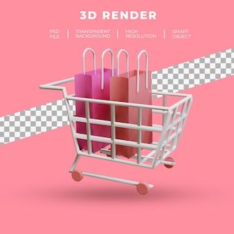 트롤리와 쇼핑백 절연의 3d 렌더링