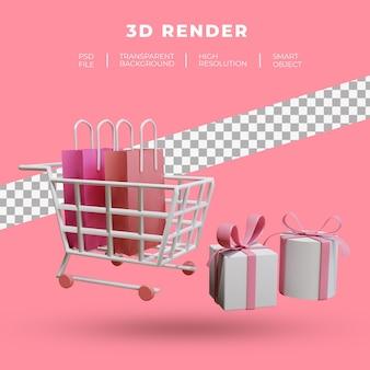 트롤리와 쇼핑백 절연의 3d 렌더링 프리미엄 PSD 파일