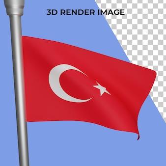 터키 국기 개념 터키 국경일 프리미엄 psd의 3d 렌더링