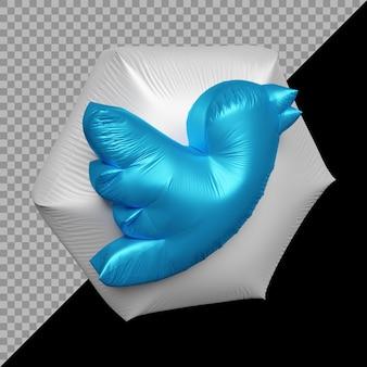 3d-рендеринг воздушного шара со значком twitter