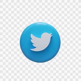 트위터 아이콘의 3d 렌더링