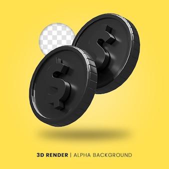 광택 효과가 격리된 두 개의 검은색 달러 동전의 3d 렌더링. 비즈니스 또는 전자 상거래 프로젝트 일러스트레이션에 유용합니다.