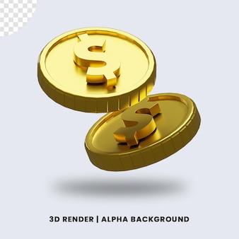 3d-рендеринг двух золотых долларовых монет с глянцевым эффектом изолированы. полезно для иллюстрации бизнеса или электронной коммерции.