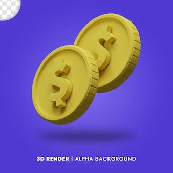 매트 효과가 격리된 두 개의 황금 달러 동전의 3d 렌더링. 비즈니스 또는 전자 상거래 프로젝트 디자인 일러스트레이션에 유용합니다.