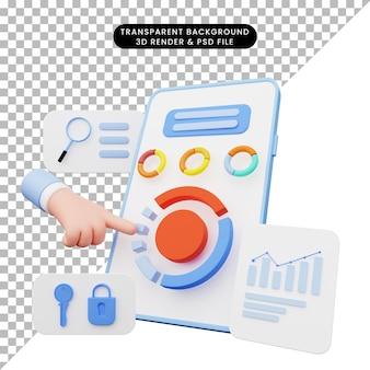 스마트폰에서 ui 그림의 3d 렌더링