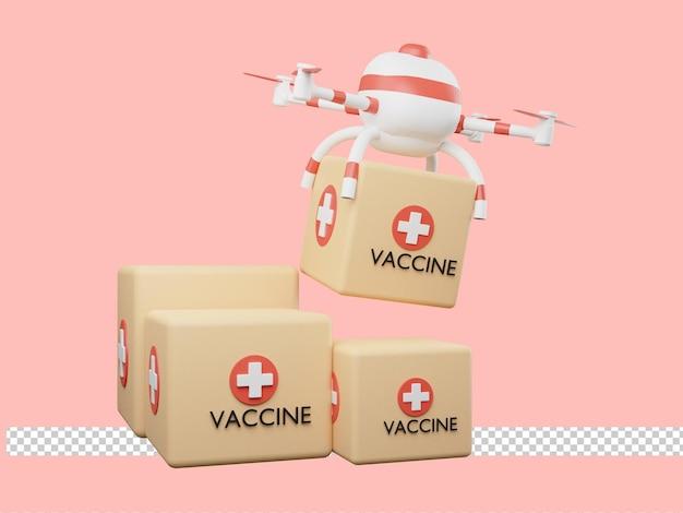 ドローンによるワクチンデリバリーの3dレンダリング。 Premium Psd