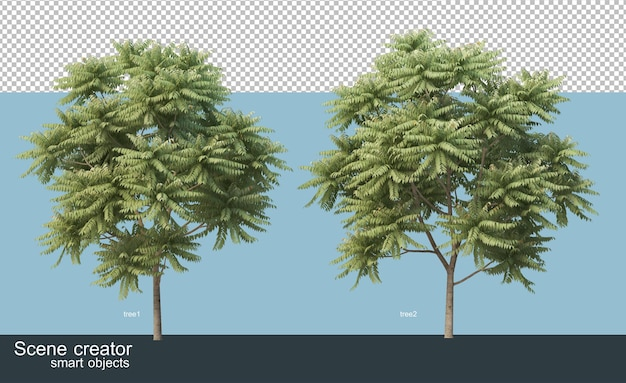 さまざまな樹種の3dレンダリング