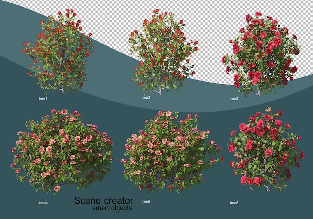 さまざまなツリーデザインの3dレンダリング