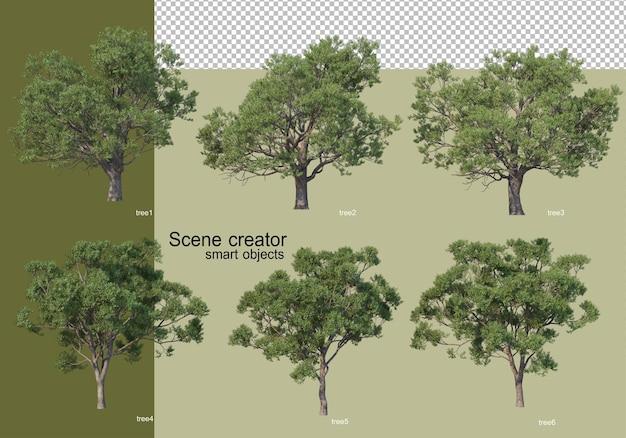 고립 된 다양 한 나무의 3d 렌더링