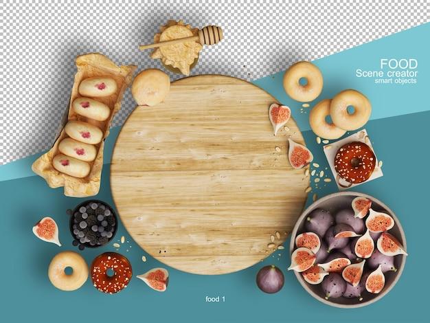 다양한 유형의 음식 레이아웃의 3d 렌더링