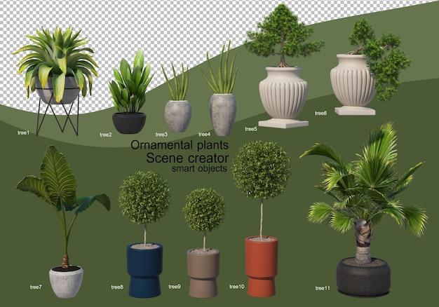 3d-рендеринг различных видов орнаментальной композиции