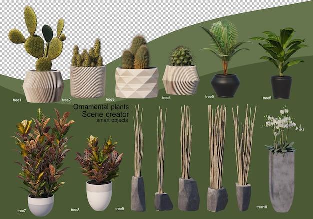 さまざまな種類の装飾用アレンジメントの3dレンダリング
