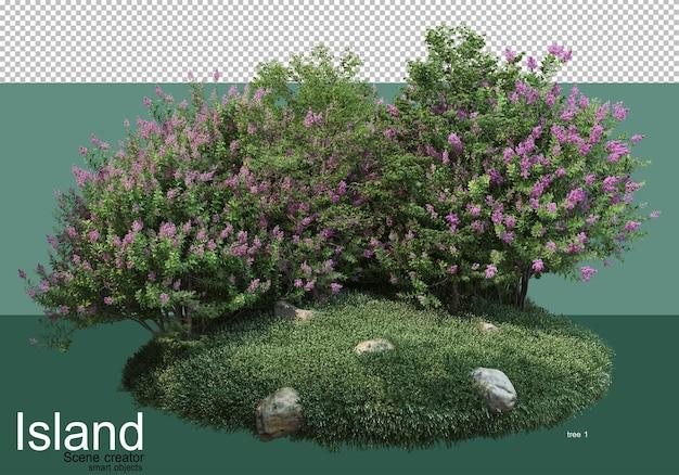 섬에 다양한 종류의 나무의 3d 렌더링