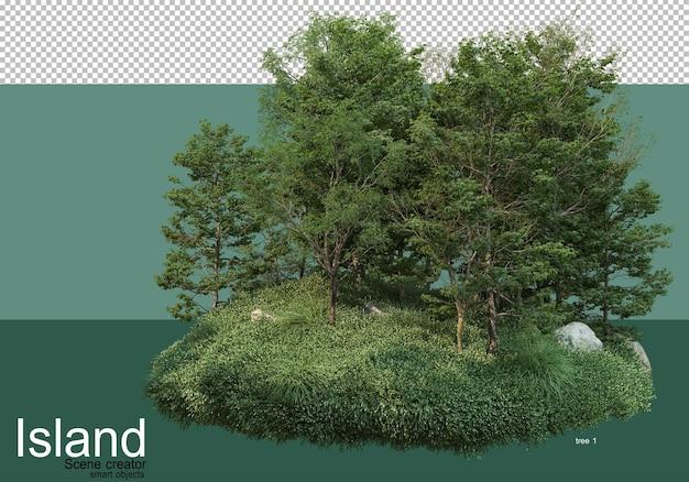 島のさまざまな種類の木の3dレンダリング