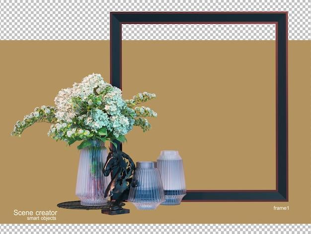 さまざまな要素とフレーム配置を備えた花瓶の3dレンダリング