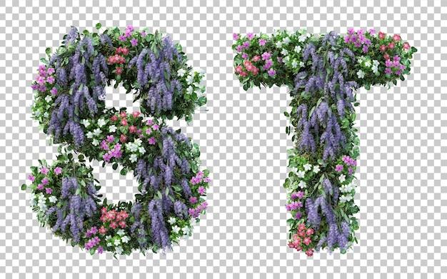分離された垂直フラワーガーデンアルファベットsとアルファベットtの3dレンダリング