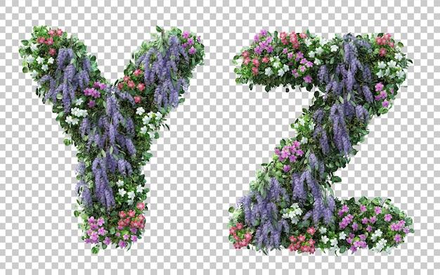 分離された垂直フラワーガーデンアルファベットyとアルファベットzの3dレンダリング