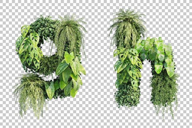 수직 정원 알파벳 g 및 알파벳 h의 3d 렌더링