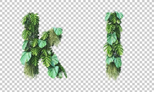 수직 정원 소문자 알파벳 k와 알파벳 l의 3d 렌더링