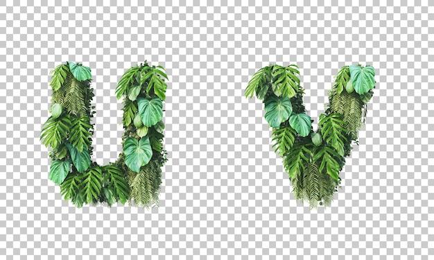 수직 정원 소문자 알파벳 u와 알파벳 v의 3d 렌더링