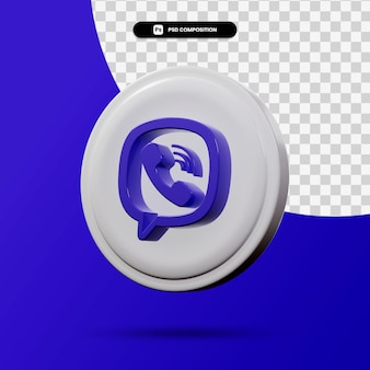 分離されたviberアプリケーションロゴの3dレンダリング