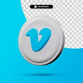 分離されたvimeoアプリケーションのロゴの3dレンダリング