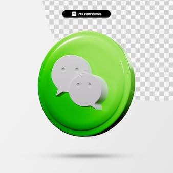 分離されたwechatアプリケーションのロゴの3dレンダリング