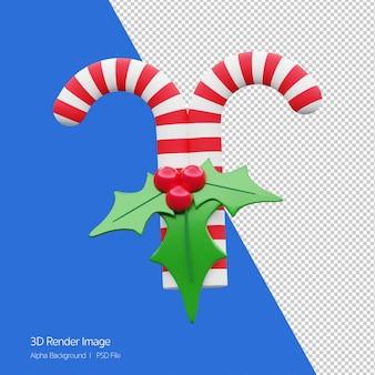 고립 된 크리스마스 휴가에 대 한 흰색과 빨간색 사탕 지팡이의 3d 렌더링.