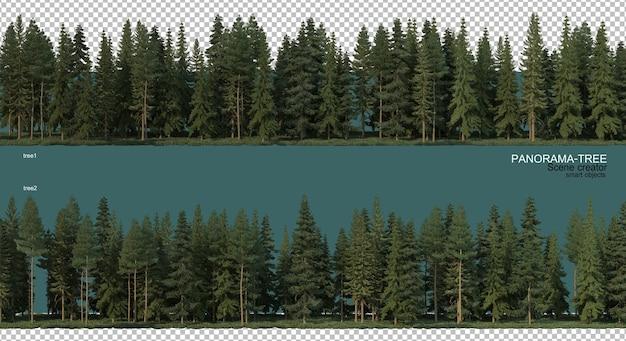 広角樹木配置の3dレンダリング