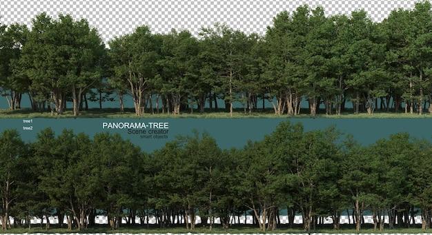 광각 트리 배열의 3d 렌더링