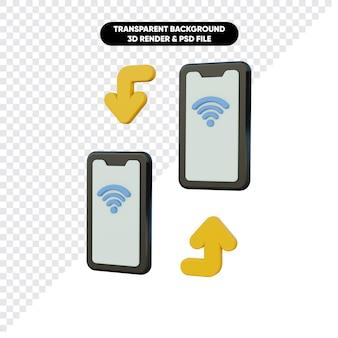무선 스마트 폰 연결의 3d 렌더링