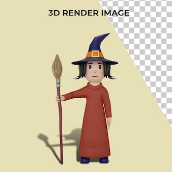 할로윈 개념 마녀의 3d 렌더링