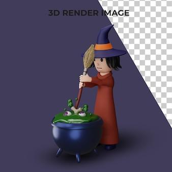 3d-рендеринг ведьмы с концепцией хэллоуина