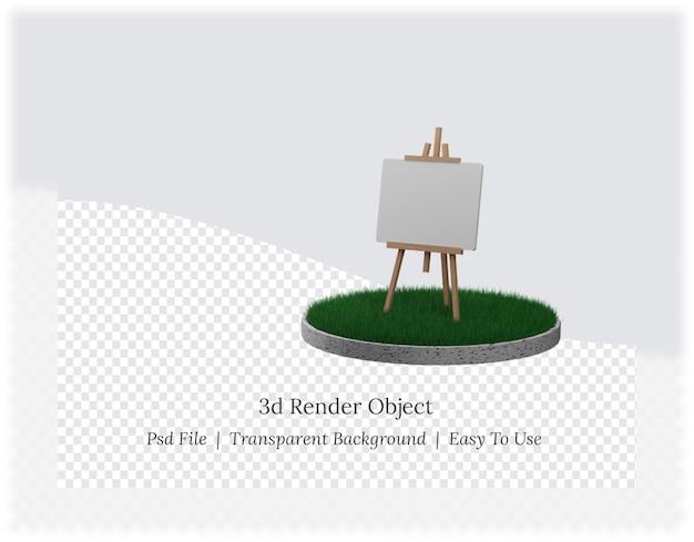 3d-рендеринг деревянного мольберта с пустым холстом