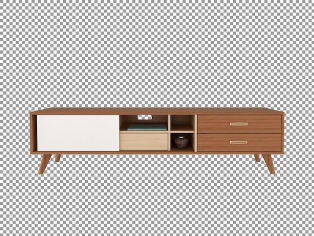 고립 된 나무 거실 책상 인테리어의 3d 렌더링