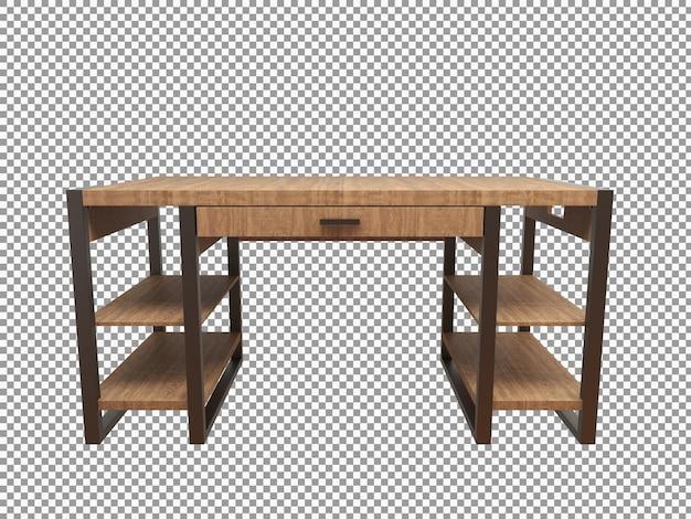 고립 된 나무 사무실 책상 인테리어의 3d 렌더링